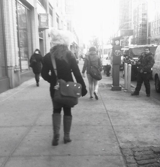 big fuzzy hat thing near FIT #walkingtoworktoday