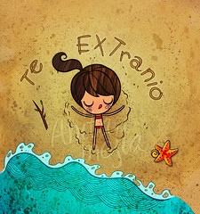 playa (Anita Mejia) Tags: summer cute beach girl illustration ink star postcard card bikini greeting chocolatita anitamejia