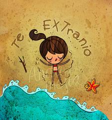 playa (Anita Mejia) Tags: summer cute beach girl illustration ink star postcard card bikini greeting chocolatita anitamejia