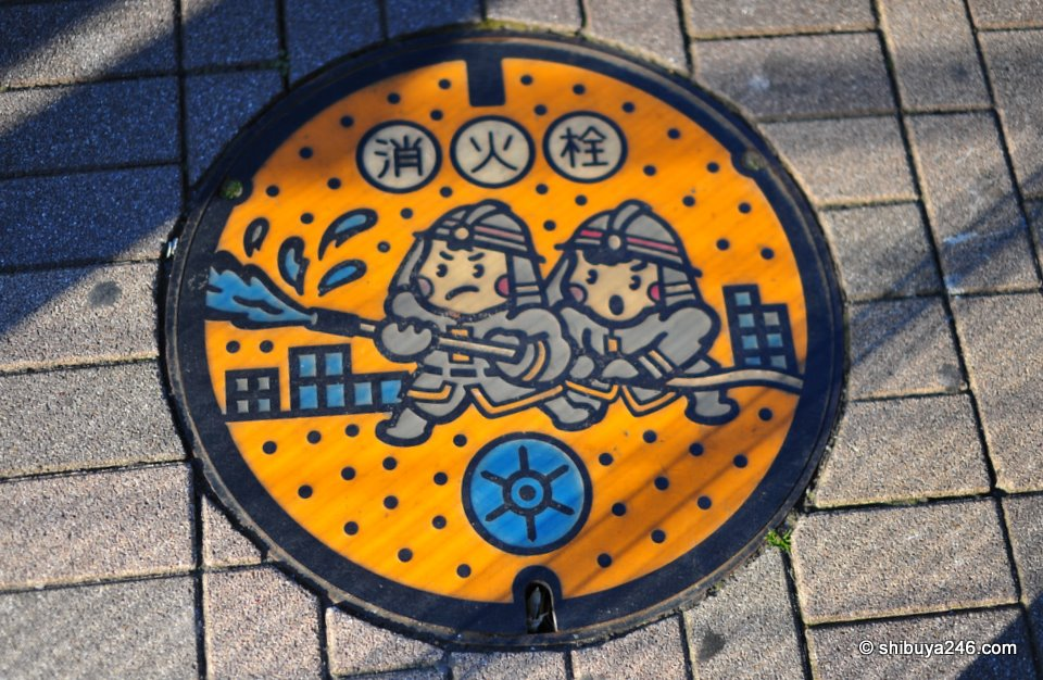 Very colorful manhole cover courtesy of the fire department.
