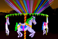 The Light Carnival is in Town! (TxPilot) Tags: carnival blue light red horses lightpainting green painting nikon paint carousel led lap strip d200 merrygoround rgb weeeee microcontroller lightart arduino lightpaint lightstrip lightartphotography arduinomega hl1606 microcontrolled programmablelightstrip rgbledaddressable digitallightwand