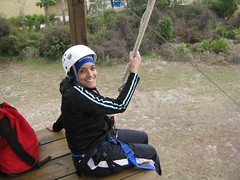 Kitzzy about to zip line at end of ropes course
