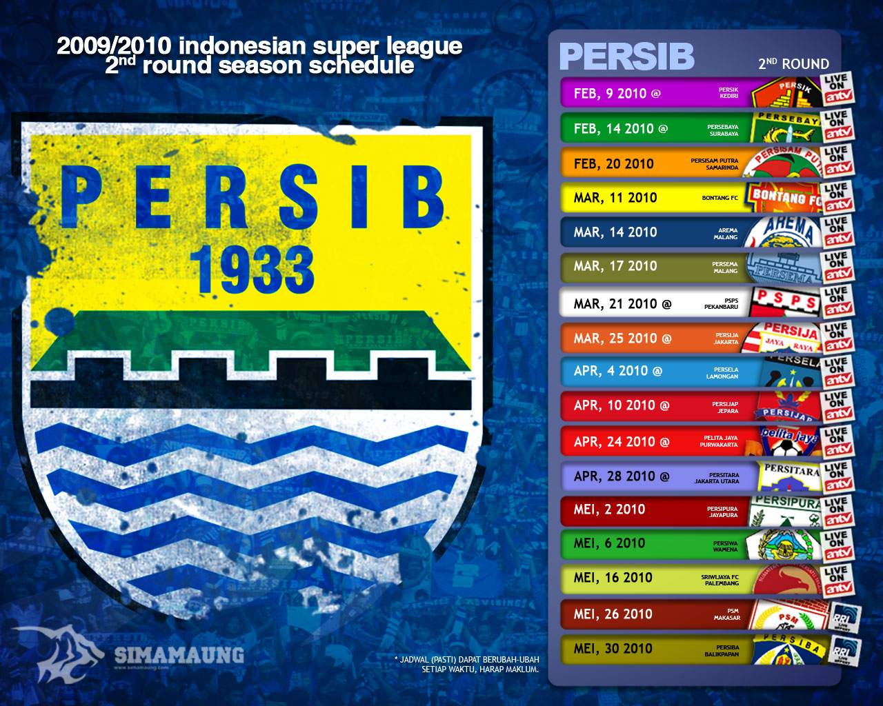 Wallpaper Jadwal Persib 2nd Round