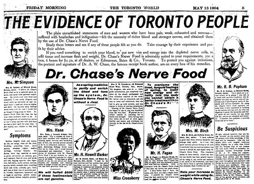 Vintage  Ad #1,050: Six Torontonians Can't Be Wrong About Dr. Chase's Nerve Food