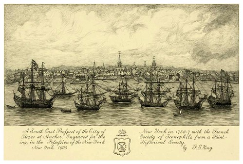 001-perspectiva sureste de la ciudad de Nueva York en 1756-con los barcos franceses anclados-The Eno collection of New York City-NYPL