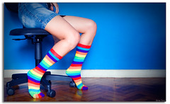 A little bit of color in your grey/black life (mescal-ine) Tags: woman feet colors girl socks cores foot chair legs couleurs femme mulher pies pernas pe pied menina pieds chaise meias jambes pes perna cadeira jambe chaussettes