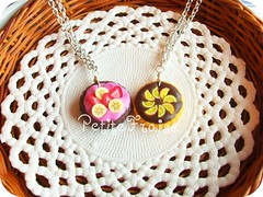 La Tarte, #01-#02, necklaces, fimo polymer clay (*Merylu*  PetiteFraise) Tags: food orange cake collier handicraft miniature necklace yummy lemon strawberry yum sweet handmade chocolate craft mini jewelry bijoux banana jewellery fimo clay slice snack tart limone tarte torta cioccolato fragola arancia polymer crostata collana agrumi petitefraise merylu