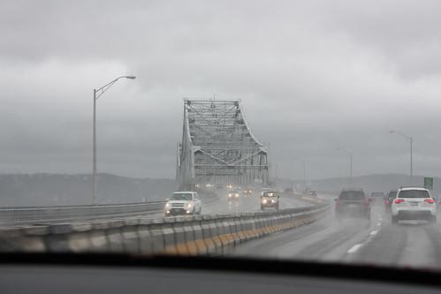 We cross the Tappan Zee Bridge in the pouring rain.