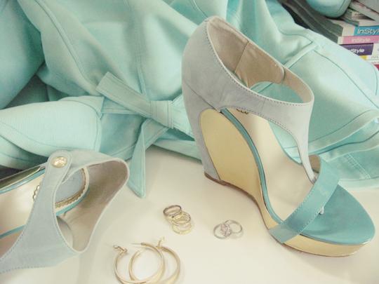 peplum jacket, accessories and shoes wedges velvet angels soft vintage