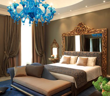 The periwinkle blue chandelier in the Presidential suite of the New York Palace Budapest hotel