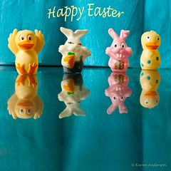 Hands up.....we hid the eggs :-) (k4wea) Tags: pink white rabbit bunny yellow easter duck chick easterfun