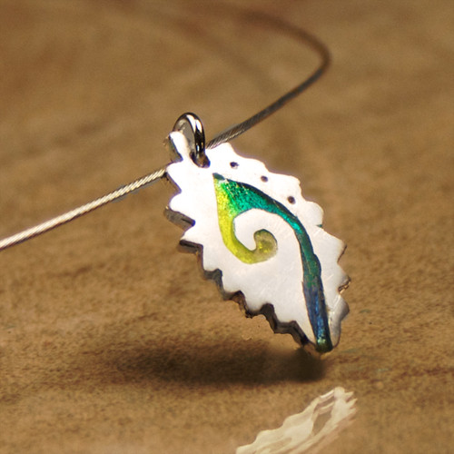Catch the Wave Fine Silver Enamel Pendant Necklace