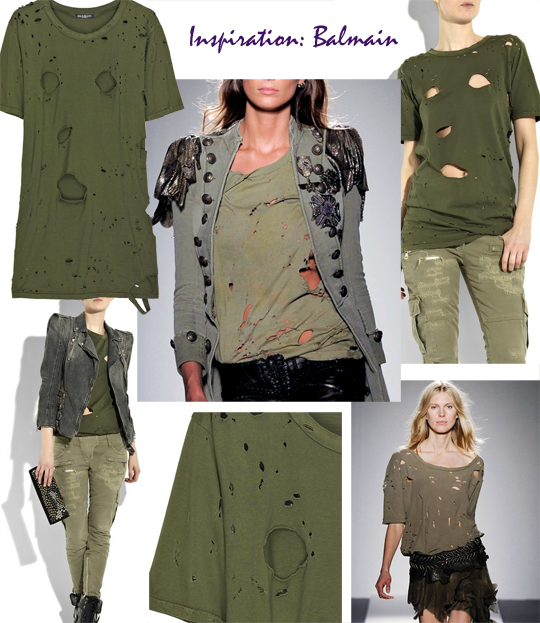 Balmain Slashed Army T shirt DIY