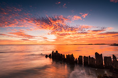 Embers (martin.bigmore) Tags: australia beach clouds coast coastal decay evening glow landscape landscapephotography ocean photography groyne sunset seascape sea sundown tide timber werribee