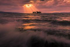 sunset 2633 (junjiaoyama) Tags: japan sunset sky light sun sunshine rays beams wave cloud weather landscape golden contrast colour bright lake island water nature winter