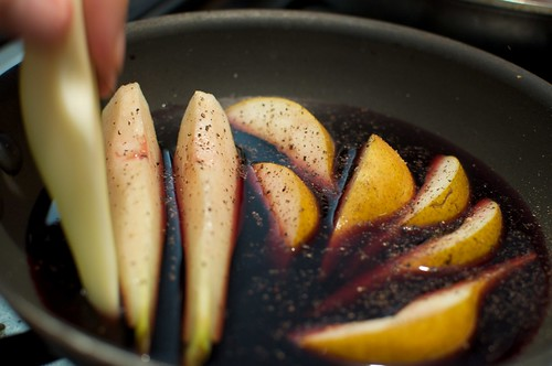 Pears poached in red wine sauce