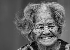 Laugh Lines (karen walzer) Tags: old travel people blackandwhite bw woman senior beauty smile japan lady happy asia joy elderly laugh grin okinawa longevity oldpeople bliss wrinkle okinawan laughlines