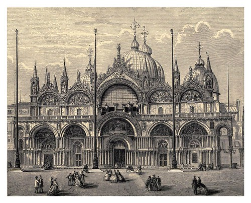 025-Catedral de San Marcos en Venecia-Italian pictures drawn with pen and pencil 1878