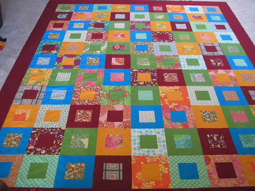 Color Block quilt top completed