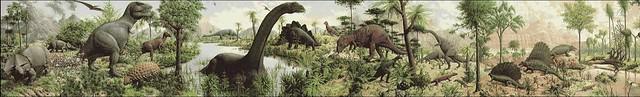 Rudolph Zallinger, Lâge des reptiles, fresque murale, université de Yale (détail).