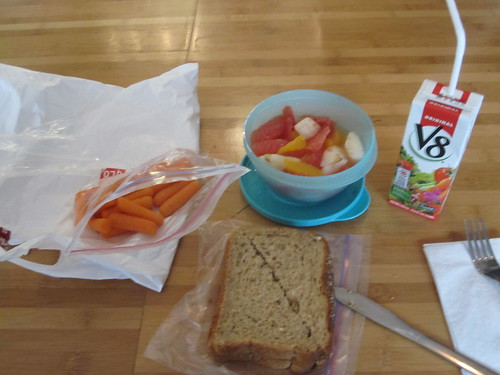Carrots, PB sandwich, fruit salad, V8