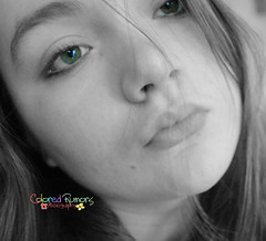 """""""Forget about tomorrow; we only have today."""" (Colored Rumors) Tags: bw white selfportrait black green girl eyes teen hazel beenawayforawhile coloredrumors"""
