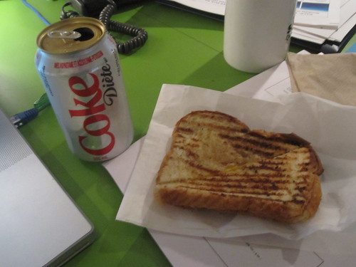 Diet Coke from the vending machine ($1.25), grilled cheese from Pasta Café ($2.30)