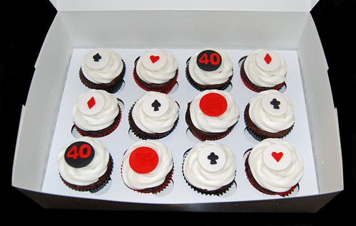 Poker Vegas themed 40th birthday Cupcakes