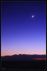 shiny moon (miwa**) Tags: blue sunset sea sky moon japan night nikon nikkor kanagawa 2009 1855mmf3556g shonan  miwa d90 nikond90