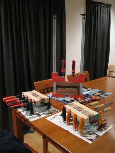 strips of blocks being glued together
