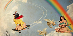 The Ride (Paul N Grech) Tags: collage clouds photoshop vintage design fly rainbow women graphic surreal retro fantasy skateboard atomic spaceage digitial paulgrech
