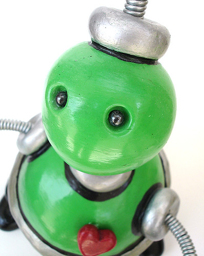 Green Gusteau Robot Sculpture Keepsake Storage Vessel