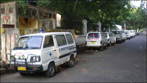 Line of Ambulances near the hospital