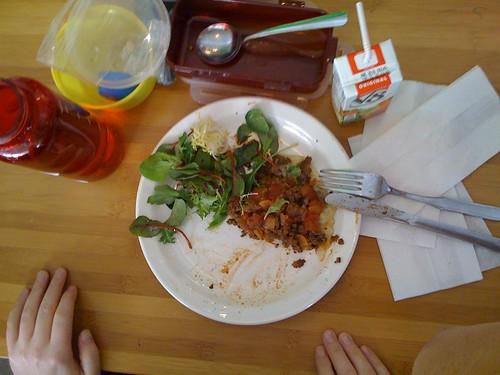 Soup, beef burrito, salad, V8