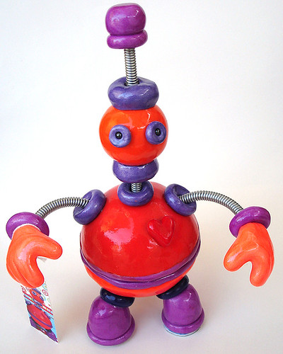 Orange Oswald Robot Sculpture - Closed Belly
