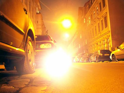 Prießnitzstraße bei Nacht