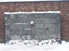 Execution Wall (Workspace__25) Tags: winter chimney cold sign urn holocaust wire memorial fences poland electrocution gas medical ashes chamber hanging blocks rudolf jews squad auschwitz arbeit barbed crematorium firing frei execution maximilian macht kolbe oswiecim owicim i hss