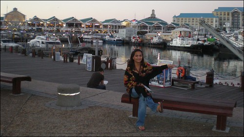 At the V&A Waterfront, pointing at boats
