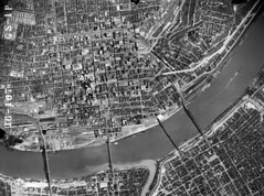 1949 aerial photo of Cincinnati (high resolution) (mgsmith) Tags: railroad geotagged photo downtown cincinnati aerial neighborhood aerialphoto mtadams 1949 ohioriver urbanplanning aerialphotograph centralparkway columbiaparkway