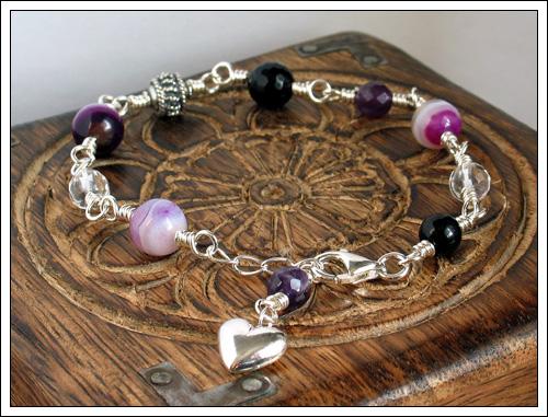 Gemstone & silver bracelet
