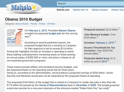 Obama 2010 Budget On Mahalo