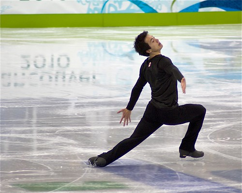 Patrick Chan practices for the short program.