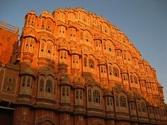 Hawa mahal (Praveer Shukla) Tags: morning blue sunlight india color monument canon ixus jaipur hawamahal rajastan poweshot 80is sd1100is