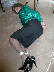 Bound on the floor (cameraman344) Tags: bondage did satin crossdresser