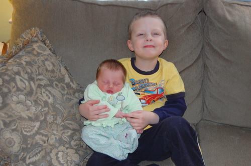 Michael loves holding Rebecca