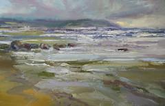 Blustery  Blackwaterfoot -sold (www.sandragraham.co.uk) Tags: scotland arran oilpainting blackwaterfoot beachseascape