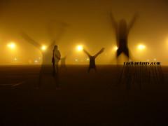Going crazy on a foggy night! (radiant guy) Tags: guy fog night photography crazy jump jumping long exposure photographer foggy running kuwait radiant jumpy الكويت
