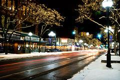 Down on Main Street (danitzh) Tags: city longexposure winter urban night mainstreet annarbor lighttrails a2 bobsegar