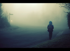 A fine moment (sparth) Tags: road seattle morning blue silhouette fog walking washington child northwest foggy son atmospheric brume sammamish 70200f4l 70200l brumeux