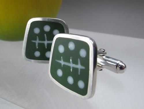 Graphico green cufflinks